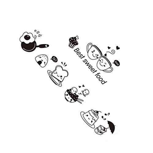 Mengonee Küche Kaffee, Kuchen und Süßwaren Karikatur-Mädchen Kochen DIY Wand-Aufkleber Esszimmer PVC-Tapeten Removable Abziehbilder