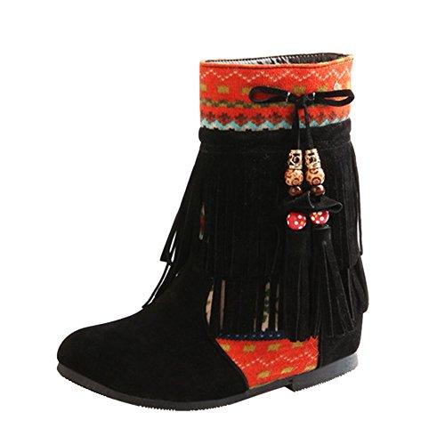 Frestepvie Femme Hiver Cuir Nubuck Tassel Neige Cheville Flat Bottines Perlé Chaussures Mode Bout Rond Suédine Frange