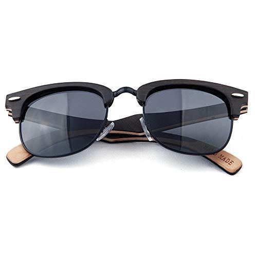 XHCP Women Classic Sonnenbrille Women 's Rivet Decoration Halbrandlose polarisierte Holzsonnenbrille Handgefertigte Sonnenbrille UV-Schutz Sonnenbrille zum Fahren Strandsonnenbrille (Farbe: Schwa