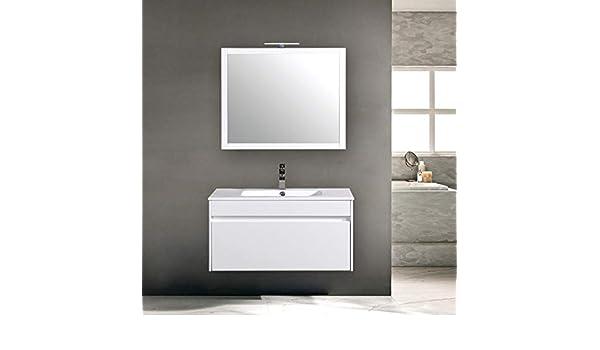 PIANETAFFARI Mobile da Bagno sospeso Bianco Lucido cm 80 Completo di Specchio Serie Colonia