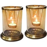 THE YELLOW DOOR T portalampada con lucentezza oro Set di vetro di 2