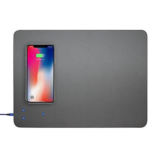 Carregador sem fios, sem fios Gaming Mouse pad, rato sem fios carregador portátil Qi rato sem fios Carregador PU para Galaxy S8 / S8 Plus / Nota 8, Apple iPhone 8 / iPhone 8 Plus - Base antiderrapante