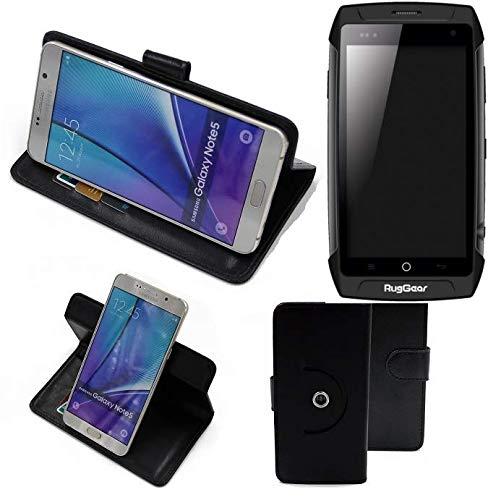 K-S-Trade® Hülle Schutzhülle Case für Ruggear RG730 Handyhülle Flipcase Smartphone Cover Handy Schutz Tasche Bookstyle Walletcase schwarz (1x)