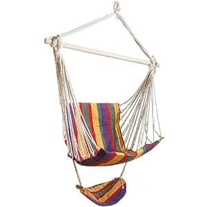 Chaise hamac avec repose-pieds fauteuil suspendu basculante colorée