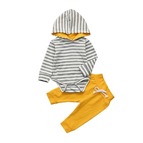 Ropa para niños Tefamore 2pcs niño pequeño bebé niña ropa conjunto raya con capucha Romper + pantalones trajes (Amarillo, 3-6 meses)
