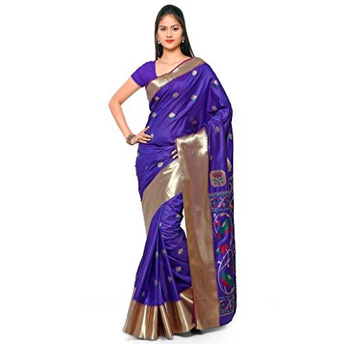 Varkala Silk Sarees Women's Art Silk Paithani Saree With Blouse Piece(JB5001WTPGRBV_Blue_Free Size)