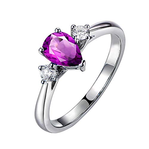 Amody 925 argento sterling dimensione personalizzato lacrima anelli per le donne pera taglio viola ametista fede nuziale anello dimensione 16