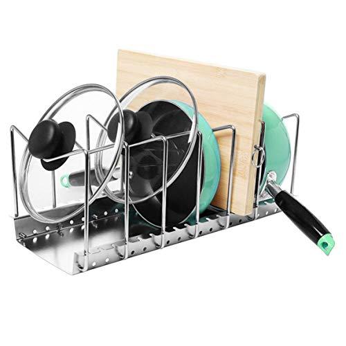 ions Topfdeckelhalter Verstellbar 6 Trennwände Platzsparend Pfannenhalter Topf Deckel Organizer Abtropfgestell Küchenregal Edelstahl (6 Trennwände) ()