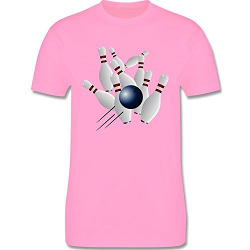Bowling & Kegeln - Bowling Strike Pins Ball - Herren Premium T-Shirt Rosa