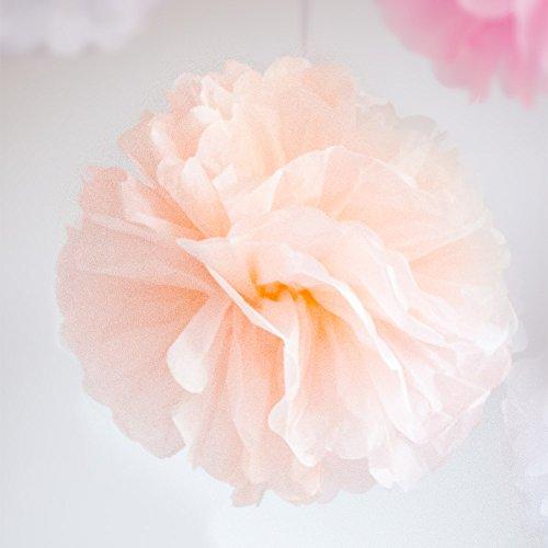 Werbewas 10er Set Pompoms aus Seidenpapier für Blumen / Bälle als Deko für Hochzeiten, Feiern, Partys, Geburtstage, Baby Shower, Taufe und weitere Anlässe - apricot 30cm