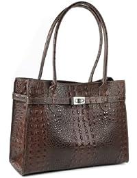 373020c21cfd3 BELLI klassische ital. Leder Handtasche Schultertasche braun Kroko Prägung  - 35x27x15 cm (B x