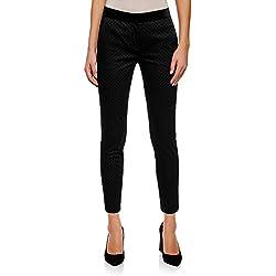 oodji Ultra Mujer Pantalones a Lunares con Cintura de Terciopelo, Negro, ES 42 / L