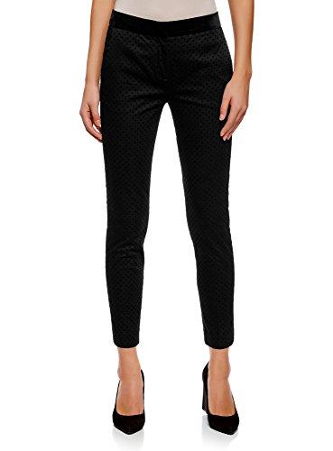 oodji Ultra Mujer Pantalones a Lunares con Cintura de Terciopelo, Negro, ES 38 / S