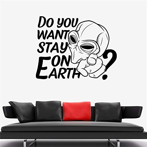 zhuziji Adesivo Murale Alieno Spazio umanoide Galaxy Mostro Invasion Vinyl Sticker Art Decor Home Decor Vinile Living Wall Stick Rosso 70X89CM