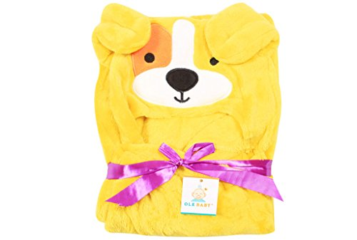 Ole Baby Lemon Green Dog Soft and Fluffy Hooded Mink Blanket Assorted Color and Character