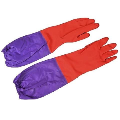 Paire de travail domestique de nettoyage Longueur coude Gants en latex violet/rouge
