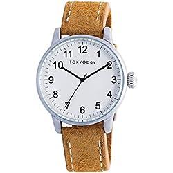TokyoBay t626-tan Herren Edelstahl Leder Band Weiß Zifferblatt Smart Watch