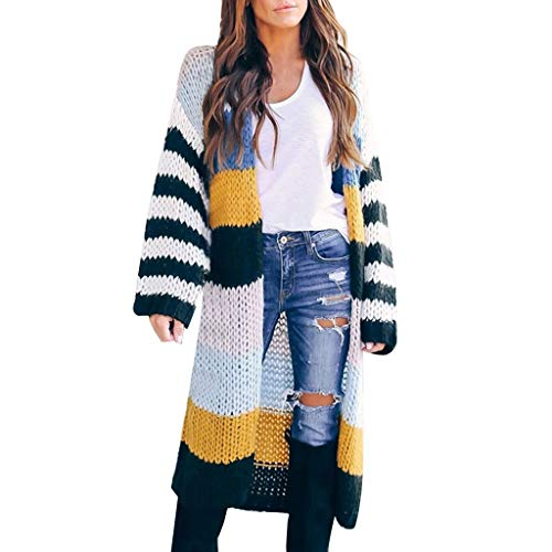 Simayixx Frauen Lange Hülsen Farben gestreifte Taschen beiläufige gestrickte Oberbekleidung Wolljacken Strickjacke Frau Nähte Kontrastfarbe gestreiften Mode Tasche Strickjacke Mantel -