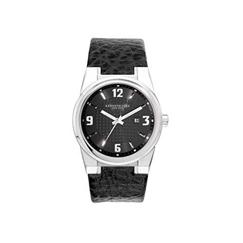 Kenneth Cole Gents Black Leather Calendar Watch KC1339 & Alarm Clock Gift Set