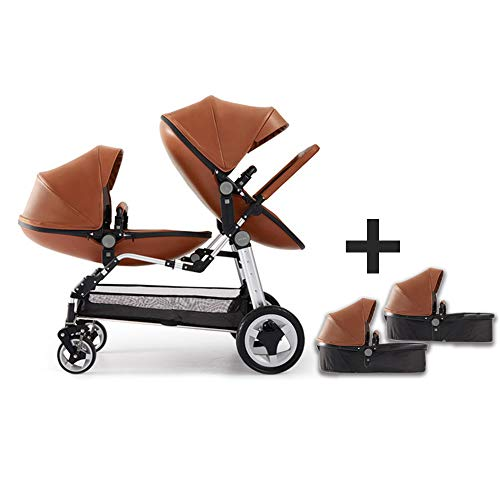 Baby Twin Stroller,Babyfond Double Egg Seat + Sleeping Baskets,High View Foldable Leather Stroller for 0-8 Months Newborn(Brown)
