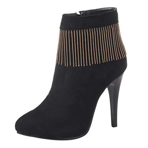 JiaMeng Botines Botas de tacón Alto para Mujer Mental Tassel Thin Heel Botines Desnudos Flock Casual Botines Cortos de Mujer rebajada Botas de Tobillo Zapatos