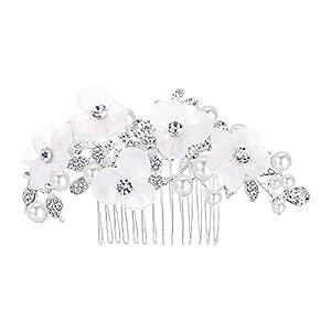 Clearine Damen Böhmisch Boho Kristall Hochzeit Braut Handarbeit Künstliche Perlen Blume Haarkamm Haarschmuck Ivory-Farbe