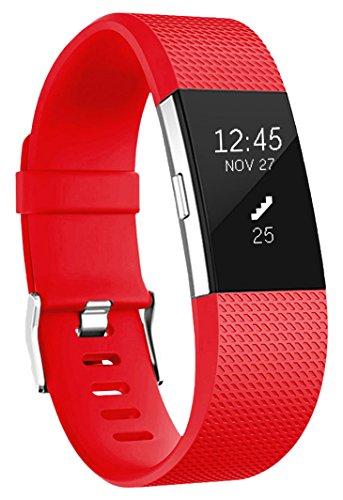 2 Armband, HUMENN Weich Verstellbares Armband mit Klassisch Schnalle für Fitbit Charge 2 Small Rot (Armbänder Rot)