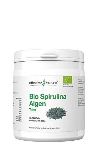 effective nature Bio Spirulina Algen Tabletten- 1060 Stk.- Ideal für unterwegs - Basisch - Hohe Bioverfügbarkeit