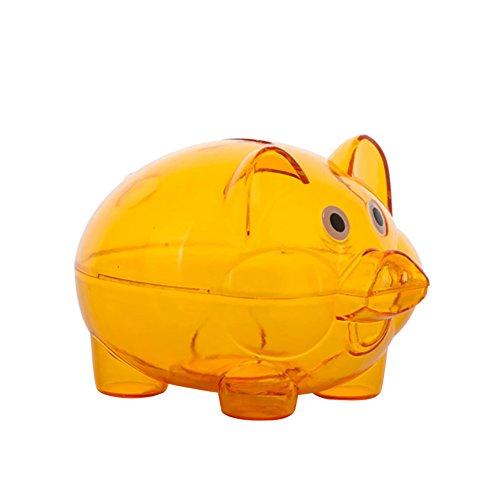 Schönes durchsichtiges Kunststoff-Sparschwein, für Münzen und Bargeld, zum Öffnen, Geschenk für Kinder, von Steellwingsf, plastik, Orange, Einheitsgröße