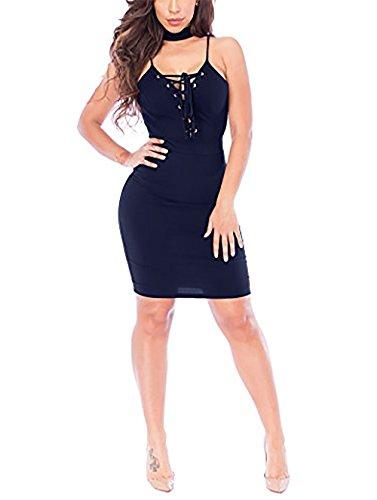 CoCo Fashion Damen Ärmellos Trägerkleid Mini Bleistiftkleid Sommer Pencil Kleider mit Schnürung (EU XL, Mittelblau) (Schwangerschafts-sportkleidung)