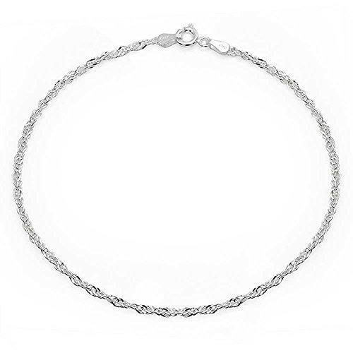 Bling Jewelry Sterling Silber Fußkettchen Singapur Kette Armband Italien
