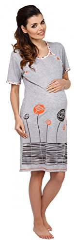 Zeta Ville - Damen Umstands Still-Nachthemd Cartoon-applikation Blumen - 135c Orange