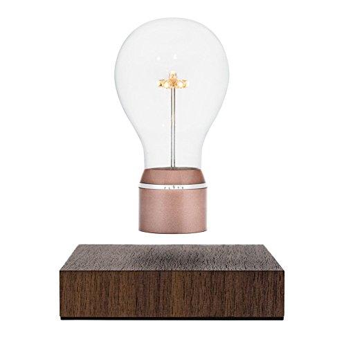 FLYTE Buckminster LED-Dekoleuchte, Kupferfassung/Walnussholzbasis, schwebend per Induktion