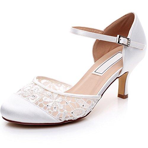 YOOZIRI Escarpins Femme Bride Cheville Boucle Bout Rond Mary Janes Satin Chaussures Pompes a Talon de Mariee Mariage - Heels 6cm