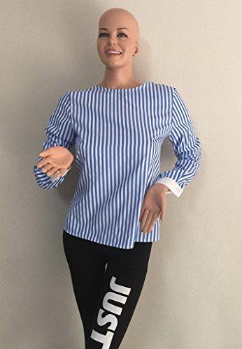 Bigood T-shirt Dos Nu Femme Chemise à Rayure Blouse Chemisier Sexy Top Manches Longues Bandage Bleu