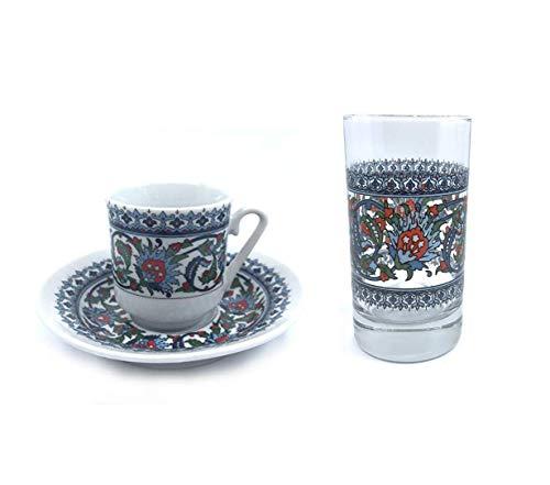 18tlg. Orientalisches Mokkatassen Set + Wasserglas von Kütahya   Kahve yani