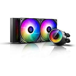 DEEP COOL Castle 240 RGB Refrigeración Líquida Silenciosa,240mm, Bomba RGB y Efecto Espejo, Controlado por Controlador y/o Placa Base con RGB Header de 5v 3pin, Garantía de 3 Años