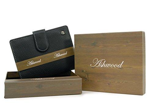 Portafoglio organiser con linguetta di chiusura in scatola regalo Ashwood - pelle/Grigio