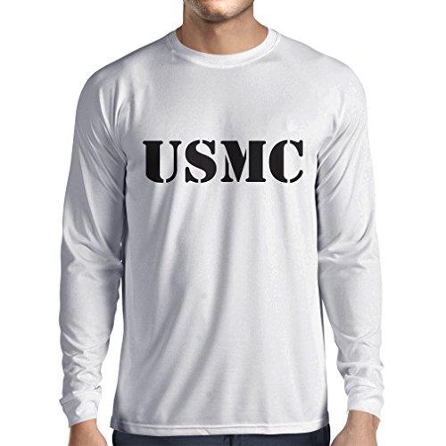 lepni.me Langarm Herren t Shirts USMC Emblem, Marine Corps, Marines Logo, US Navy Armed Forces (Medium Weiß Schwarz)