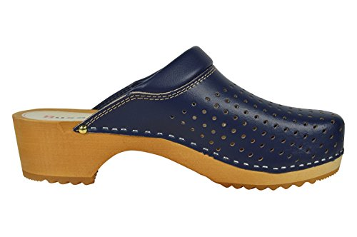 Loch Buxa Clogs mit Unisex Holz und Denim Polsterung und Leder Design Blau 6w816Axqr