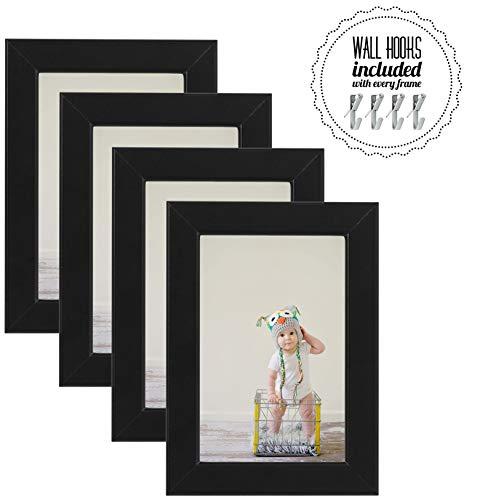IKEA Bilderrahmen für Fotos à 10 x 15 cm, horizontal, vertikal, mit Tisch-Staffelei, Wandhalterung und Wandaufhängung, perfekt für Familienportraits und Fotos, 10 x 15 cm schwarz