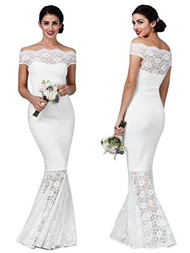 Damen Brautkleid Hochzeitskleid Spitze Meerjungfrauen-Schnitt Mermaid Bardot Carmen-Ausschnitt...