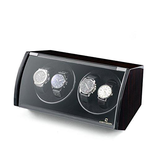 CRITIRON Coffret watch winder- Automatischer Uhrenbewegern 16 Einstellungskombination Mit Japanischem Mabuchi-Motor für Mehrere Uhren(4+0) Schwarz