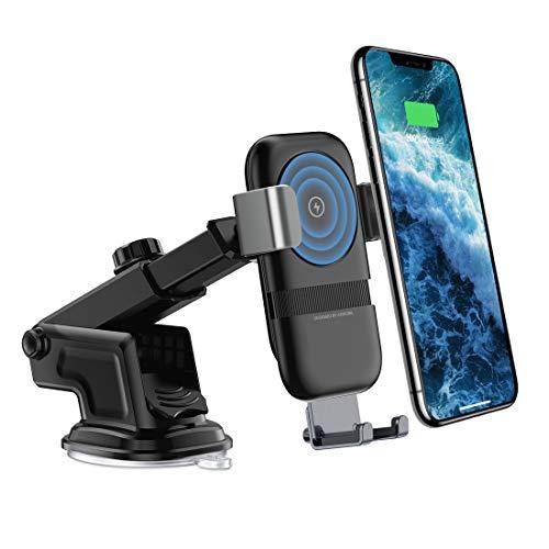 andobil Handy Halterung fürs Auto, 2 in 1 Qi Wireless Car Charger sowie als Auto Handyhalterung 10W induktiv schnelles Ladestation mit Lüftung & Saugnapf Halterung für iPhone XS / XR / X, iPhone 8 / 8 plus, Samsung Galaxy S9 / S9 plus / S8 / S8 plus und andere Qi befähigte Geräte