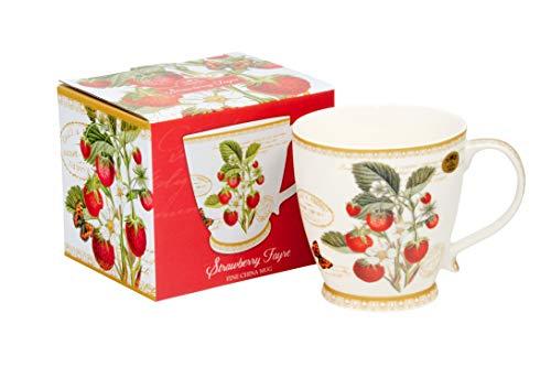 Leonardo Collection Jumbo-Tasse XXL Kaffee-Becher große Tasse 400 ml Strawberry aus Porzellan Trinkbecher Geschenk Büro Tasse für Kaffee Becher Kaffeetasse Teetasse Cappuccino Kaffeebecher (Strawberry Mama Mama)