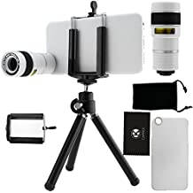 Juego de lentes para Camara iPhone 6 / 6S incluye Lentes Telefoto 8X / Mini Tripode / Sujetador para Telefono Universal / Estuche Duro para iPhone 6 / 6S / Bolsa pra Telefono de Terciopelo / CamKix Paño de Micro Fibra para Limpiar/ Asombrosos Accesorios Adjuntos para su Camara wesome Apple iPhone 6 / 6S (blanca)