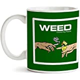 MOTIVATE BOX India  Quirky And Trendy Printed White Ceramic Coffee Mugs Weed Connecting People (325 Ml)
