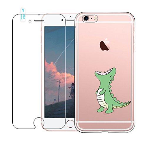 iPhone 6 / 6S Hülle mit Hartglas Displayschutz, Blossom01 Cute Funny Kreative Cartoon Transparent Silikon Bumper für iPhone 6 / 6S - Grünes Krokodil