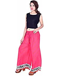 Kriti Women's Pink Lehriya Printed Designer Stylish High-Waist Flared Cotton Palazzo Pant's-Free Size