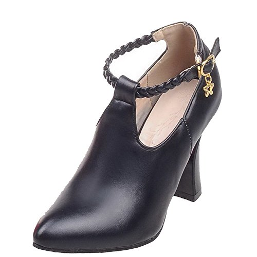 VogueZone009 Femme Boucle Pointu à Talon Haut Pu Cuir Tricotage Chaussures Légeres Noir